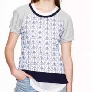 J.Crew Front Panel Embroidered Blue Gray Blouse
